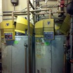 BEFORE (2)A.O. Smith Model BTH250A970 100 Gallon Commercial  Natural Gas Water Heaters